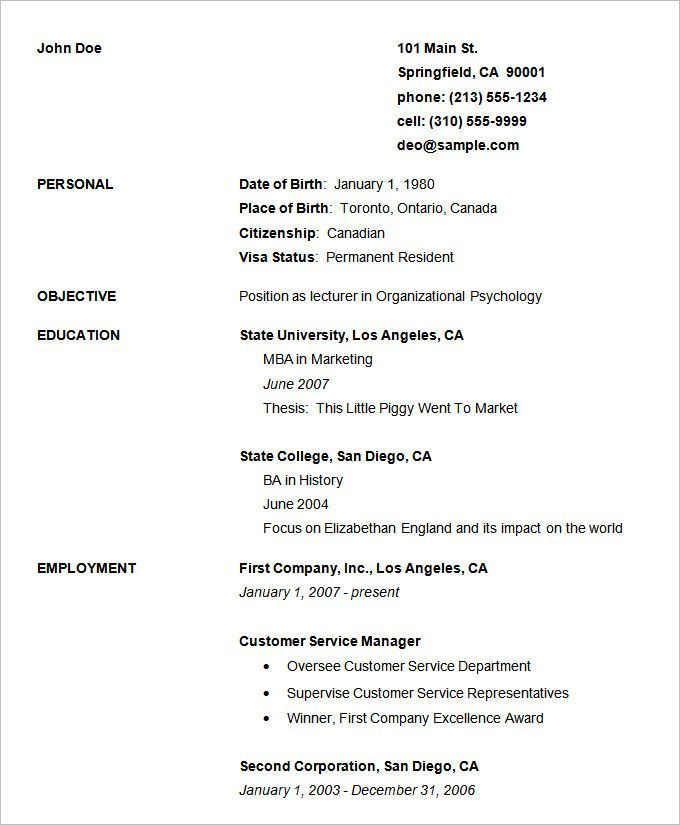 Basic Resume Template Free - http\/\/wwwvalery-novoselskyorg - canadian resume templates free