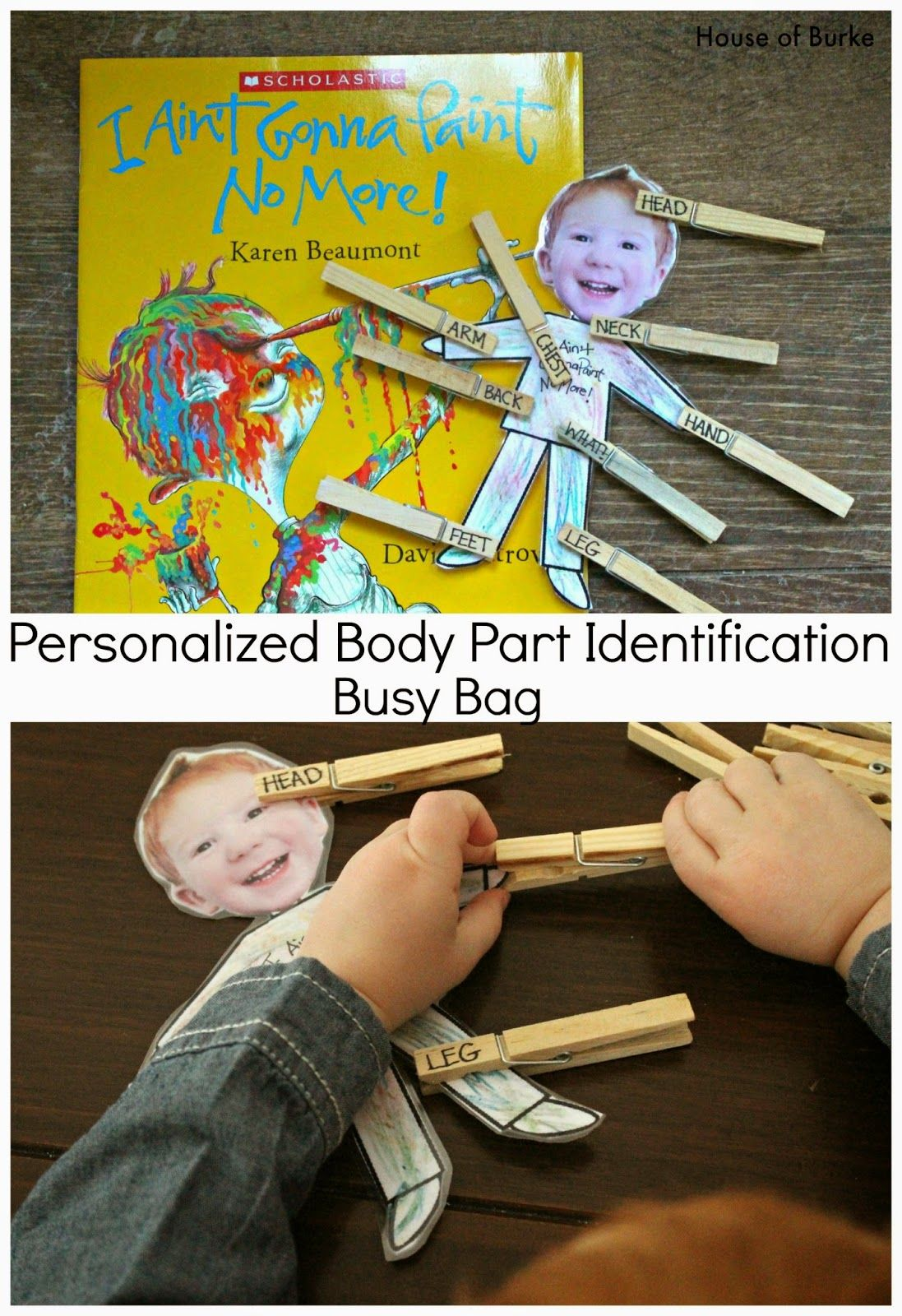 Personalized Body Part Identification Busy Bag