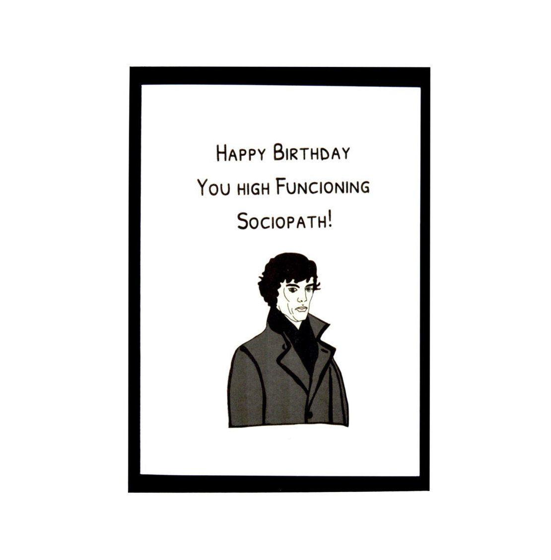 Greeting Card Sherlock Holmes Handmade Birthday Geeky For Him By PetitePolly On