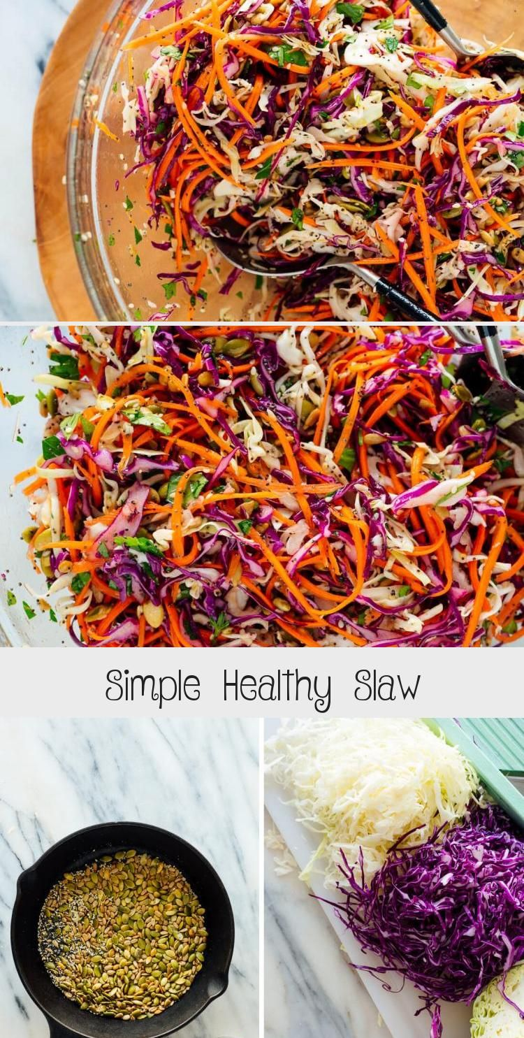 This Healthy Slaw Recipe Tastes Amazing It S Made With A Fresh And Simple Lemon Dressing No Mayo Or Vinegar And In 2020 Slaw Recipes Homemade Salads Coleslaw Recipe
