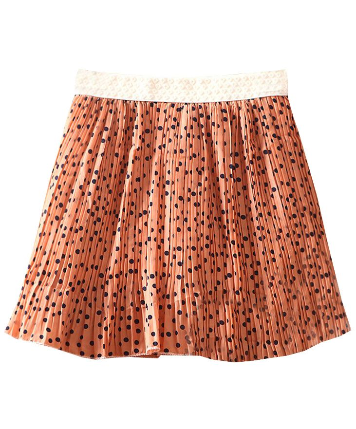 Pink High Waist Polka Dot Pleated Chiffon Skirt