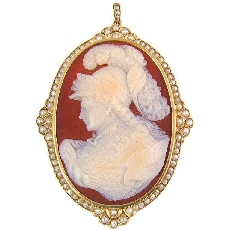 18k yellow gold pearl large victorian cameo pendantbrooch 18k yellow gold pearl large victorian cameo pendantbrooch combination greek goddess athena mozeypictures Choice Image