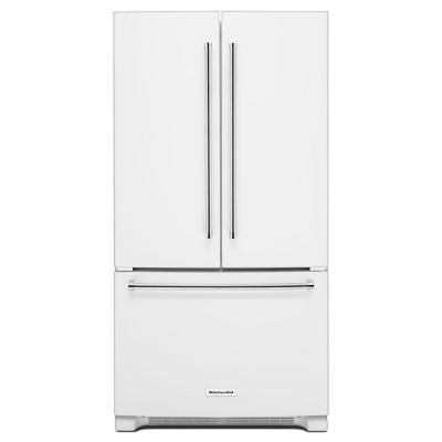 KitchenAid 36 In. W 20 Cu. Ft. French Door Refrigerator In White Counter  Depth