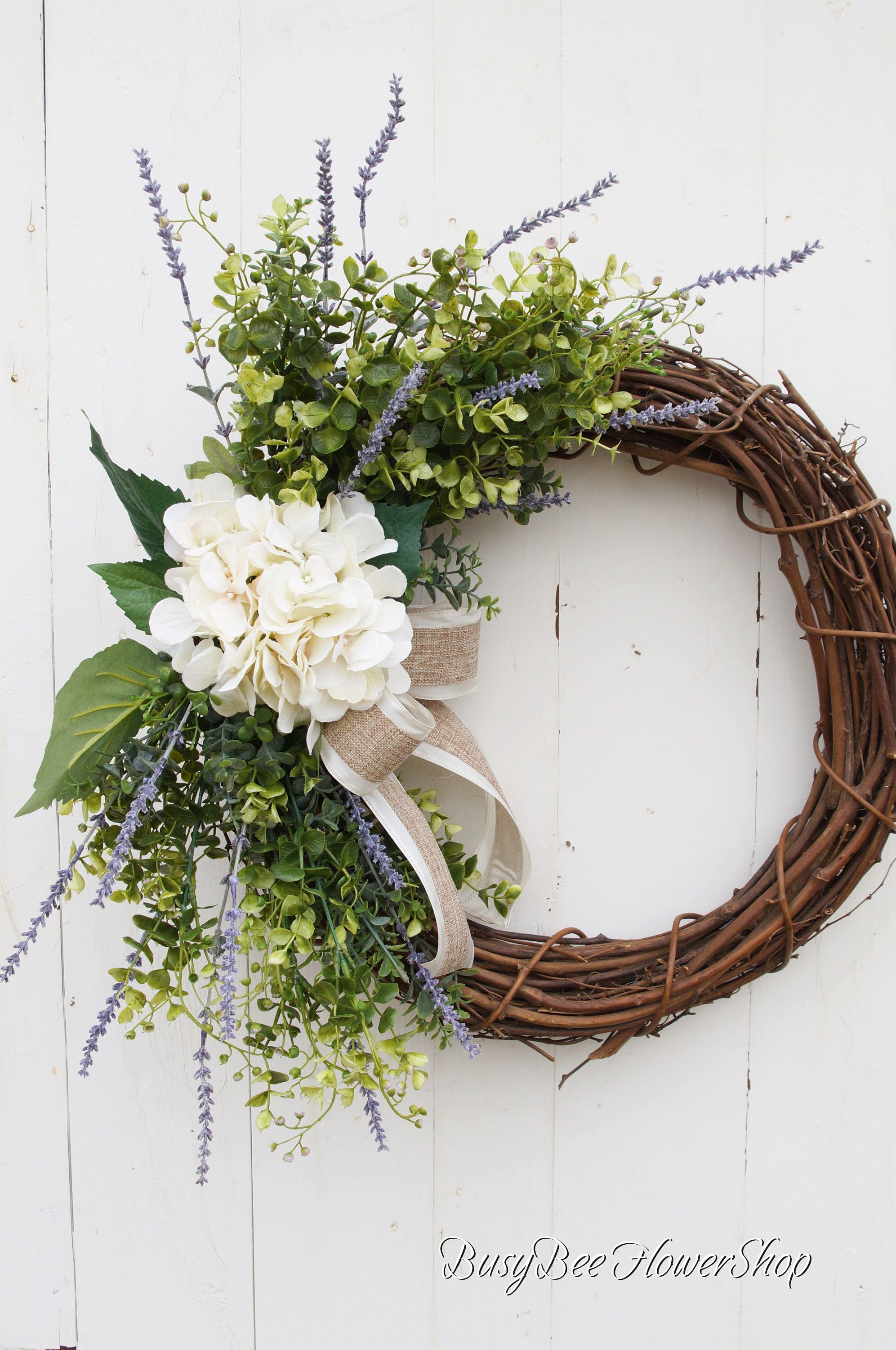 Photo of Farmhouse Spring Wreath with Faux Hydrangea for Front Door, Wreath for Shabby Chic Summer Home Decor, Grapevine Wreath with Burlap Bow