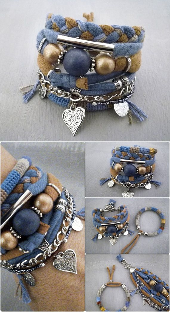 fa6941d76e2 Teal and Honey Bohemian Bracelet, Gypsy Bracelet, Heart Charm ...