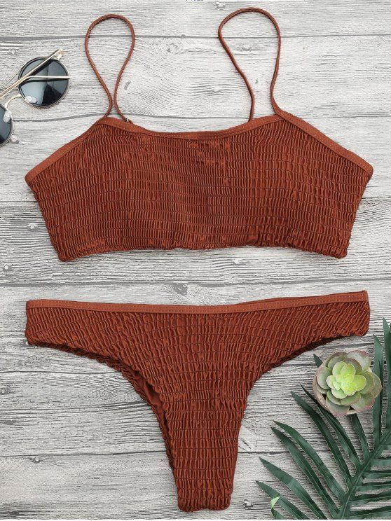 d596c8df3d63b6 Cami Smocked Bralette Bikini Set - DARK AUBURN S