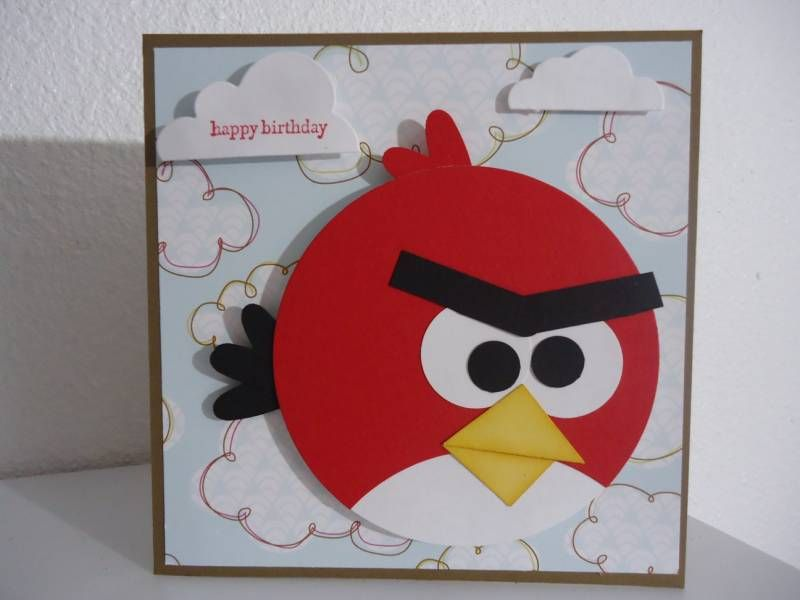 Angry Bird Birthday Card By Ladyb266 Cards And Paper Crafts At Splitcoaststampers Kids Birthday Cards Sizzix Cards Kids Cards
