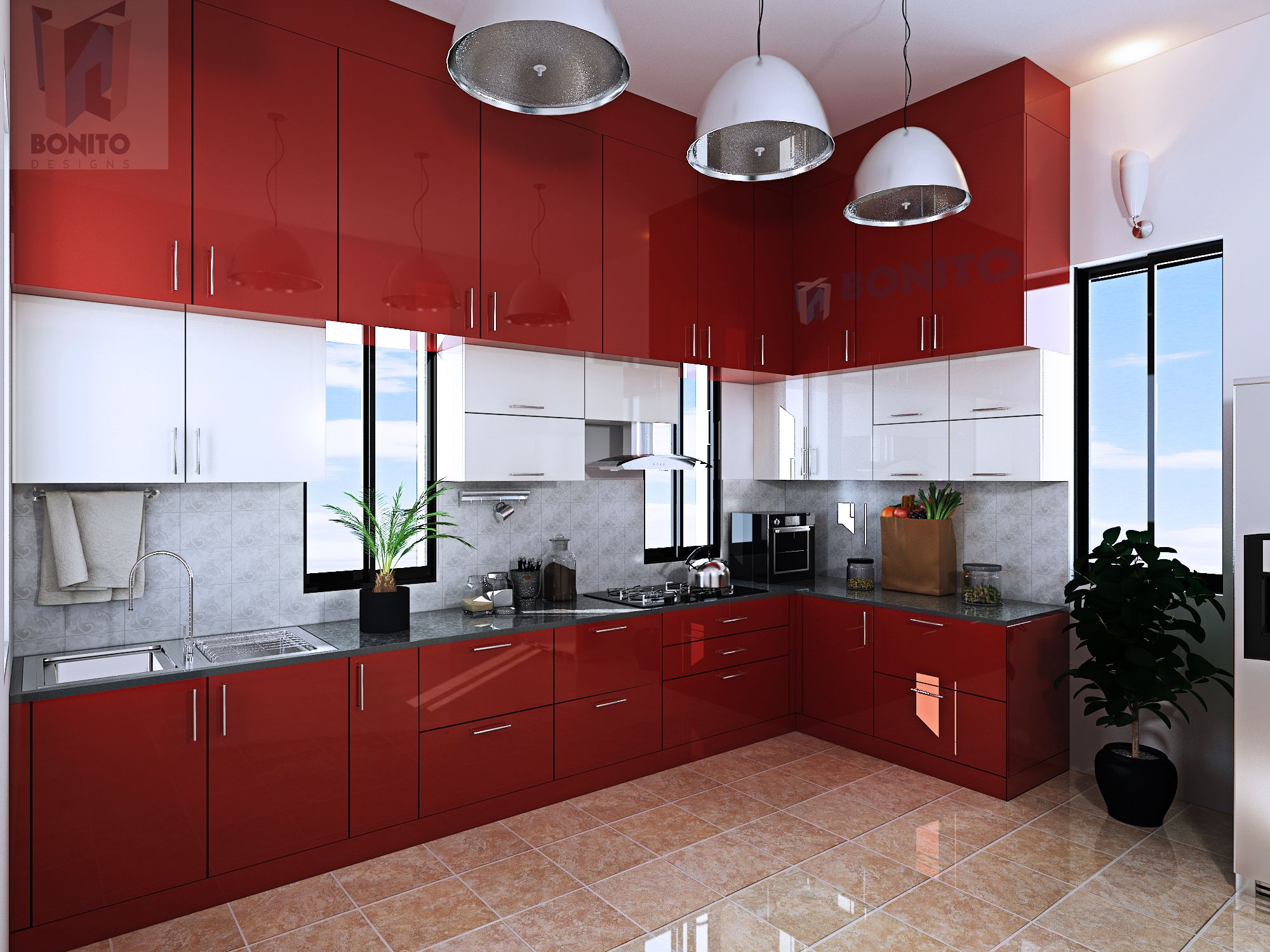 Modular Kitchens Can Make Life Easier In And Around The Kitchen How About This Rich Maroon One By Bonito Desi Kitchen Interior Kitchen Design Apartment Design