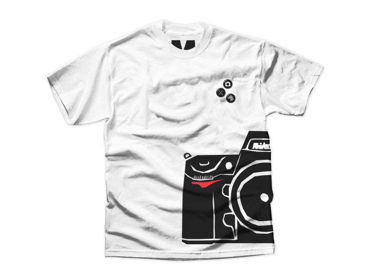 Mom and Dad Day gift idea - Iron on half a photo on t-shirts. Great Couples gift idea: Matching left/right 1/2 images on T-shirts. These guys used cameras. I say 'Steal this idea!' and split ANY image in half and make your own t-shirts w/iron on transfer printer paper or online (on zazzle.com for example).