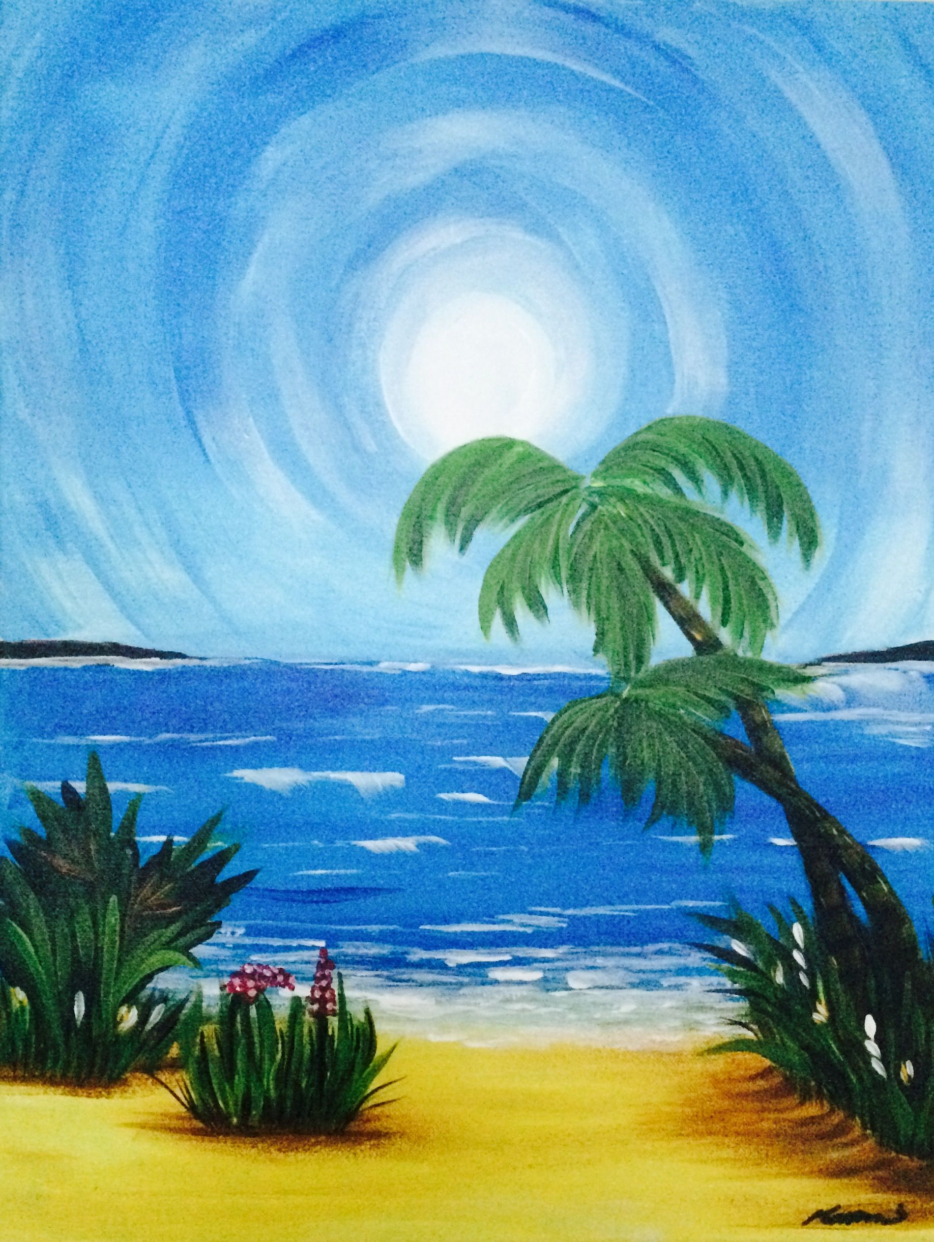 Eat Drink Laugh And Paint At Our Nightly Events Easy Acrylic Painting Of Palm Trees Waves Greenery In The Tropical Sun