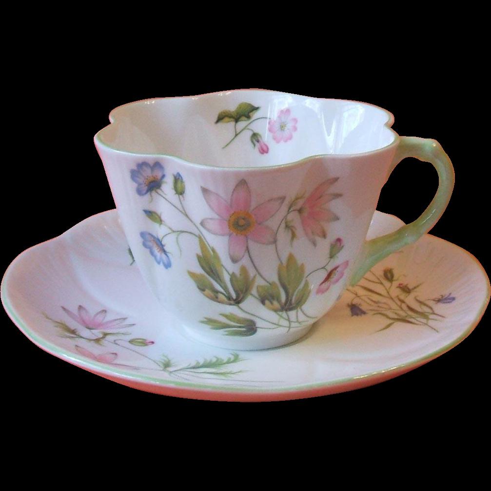Shelley 13977 Wild Anemone Dainty Cup And Saucer Bone China  ~ Tazas Para Infusiones El Corte Ingles