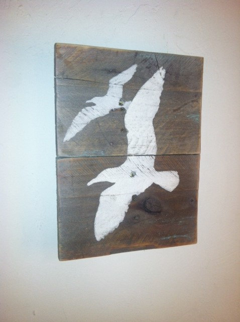 Rustic Sea Gull Wall Art Hand Painted Weathered Sign