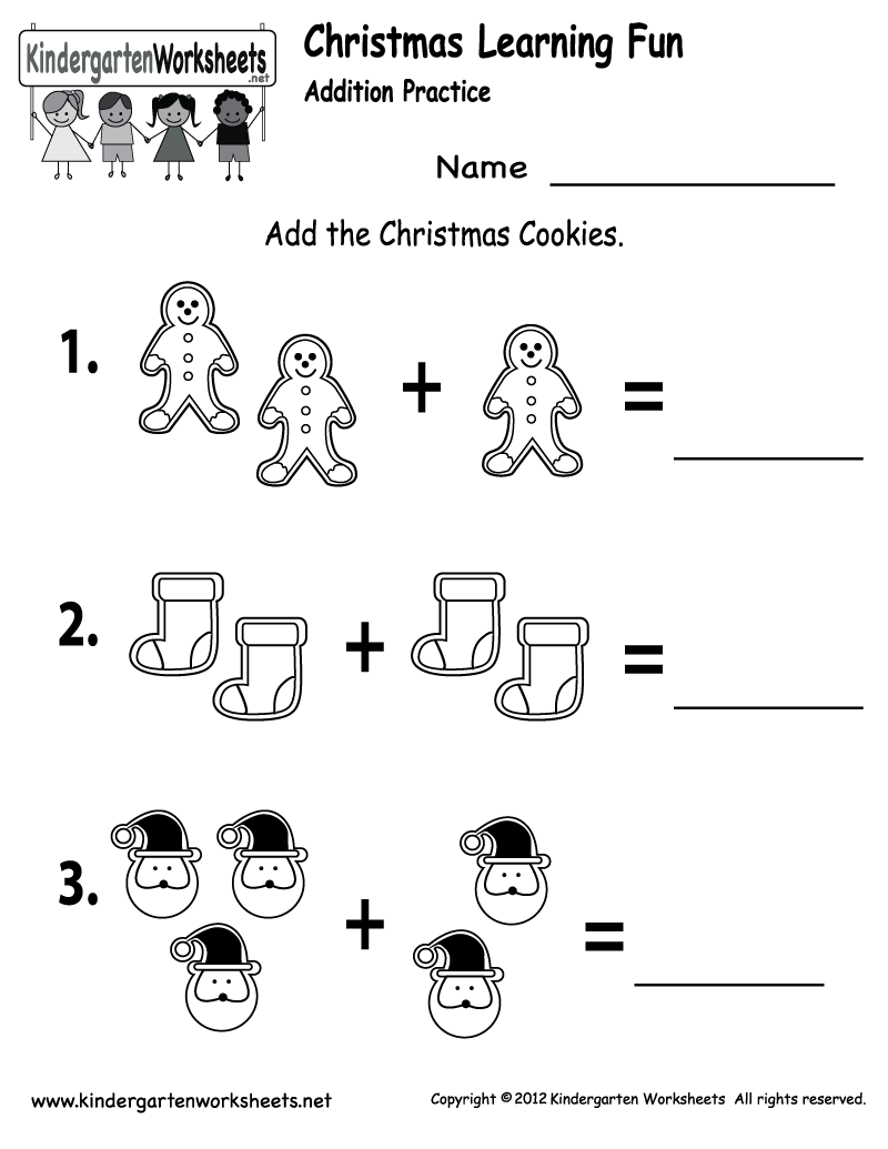 math worksheet : free printable holiday worksheets  free christmas cookies  : Christmas Addition Worksheets Kindergarten