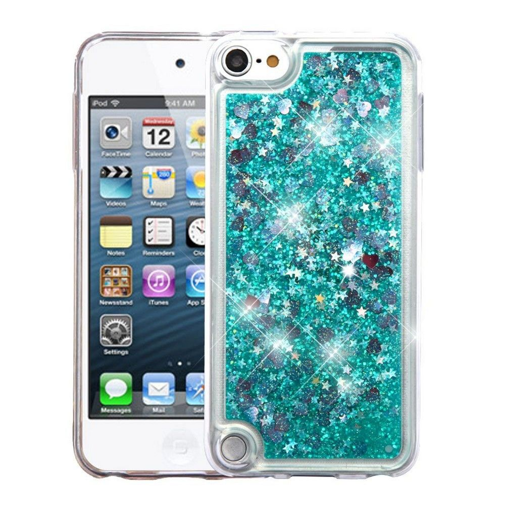 Insten Hearts Quicksand Glitter Hybrid Hard PC/TPU Case Cover For Apple iPod Touch 5th Gen / 6th Gen - Green