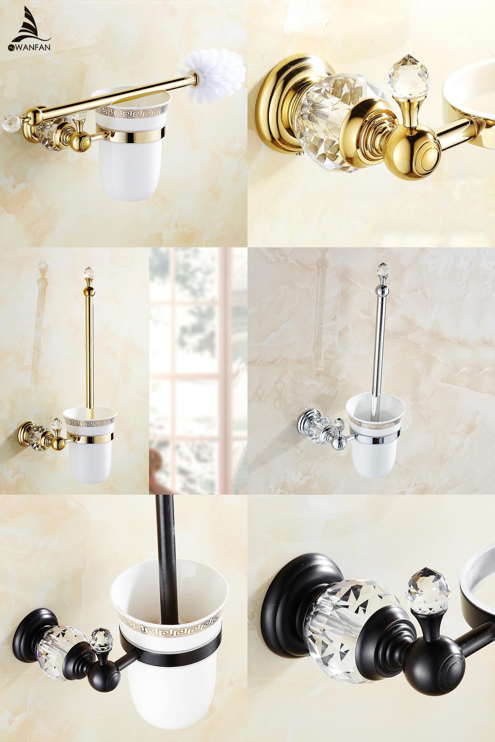 Visit To Buy European Style Brass Crystal Toilet Brush Holder
