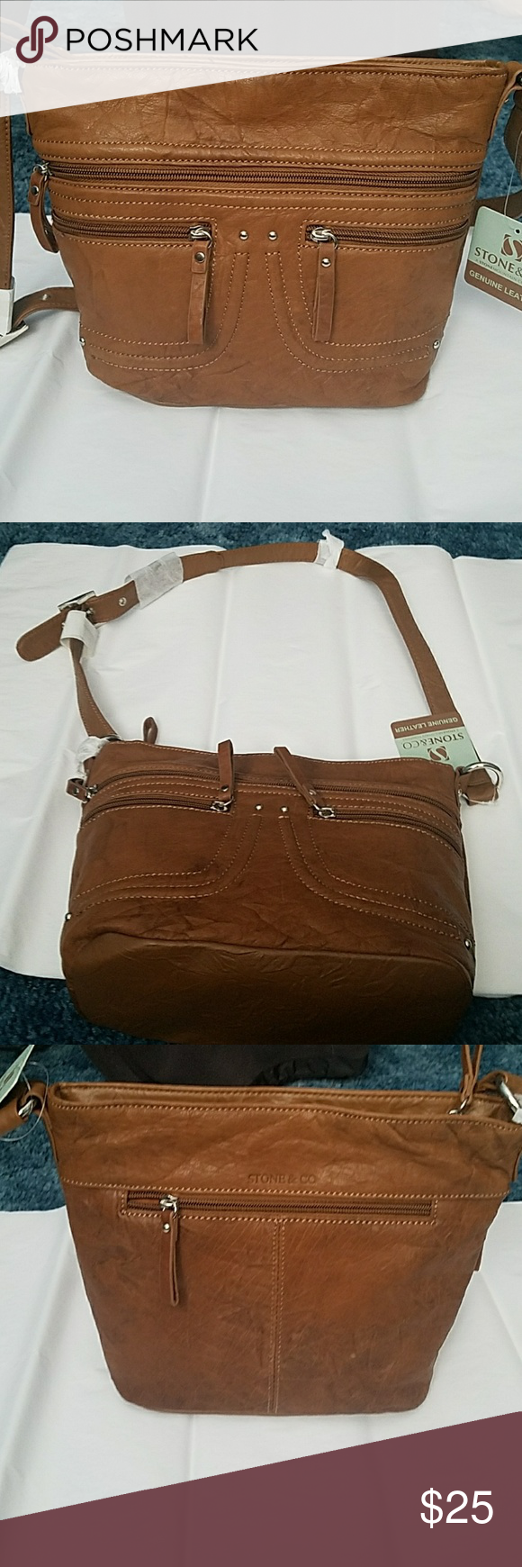 Beautiful Genuine Leather Purse Brand New Still With Tags Made By Stone And Company Lots Of Zippers Pockets Co Bags