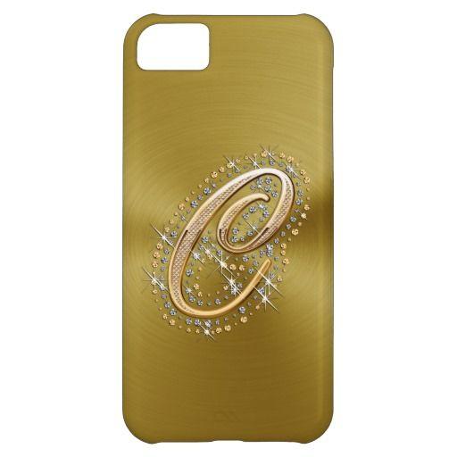 Elegant  gold diamonds C monogram iPhone 5 case