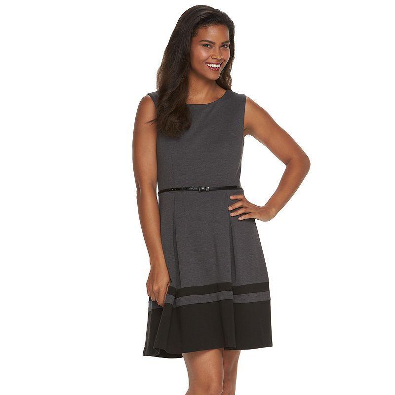 Women's Dana Buchman Striped Hem Fit & Flare Dress, Size: 12, Med Grey