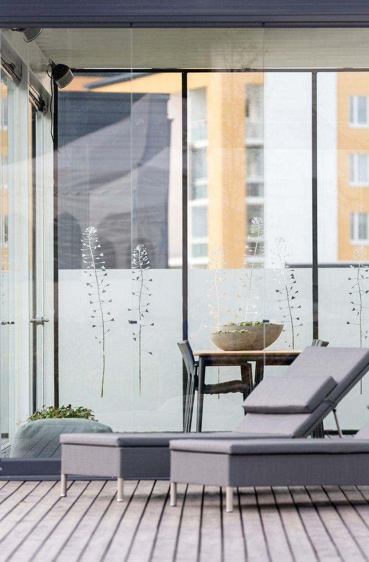 Windschutz Terrasse Sichtschutz Sonnenliegen Grau Pflanzen Motive
