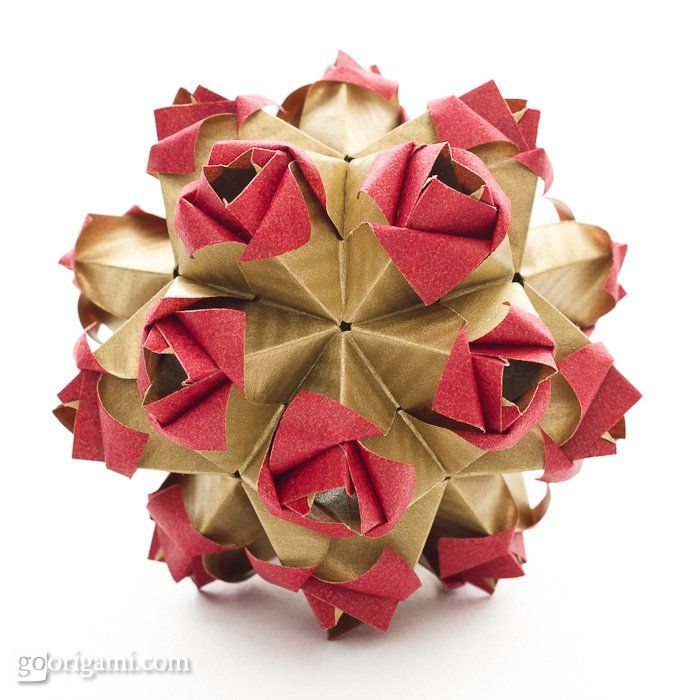 Exquisite Valentine's decoration. The Little Roses Kusudama. Many other projects also at this site.