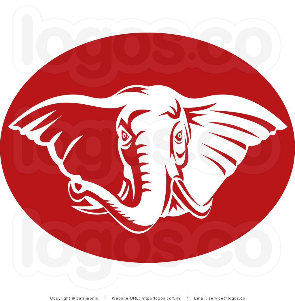 royalty free vector logo of a red and white elephant artzfartz