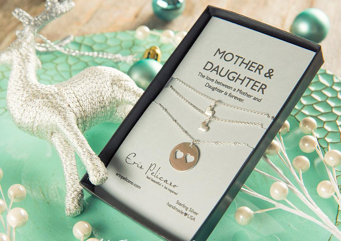 Christmas Gift for Mom. Mother Daughter Jewelry Set