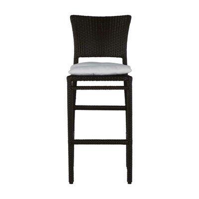 Photo of Summer Classics Skye 30″ Patio Bar Stool with Cushion (Set of 2) Cushion Color: Natural White, Frame Color: Skye #2 Black Walnut