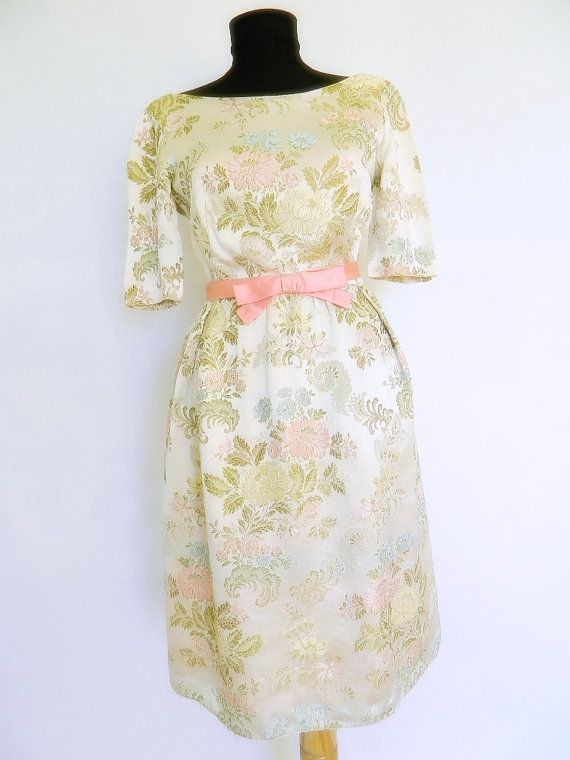 60's Vintage Pure Silk Brocade dress Hand by imagesandcolors, $175.00