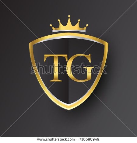 Initial Logo Letter Tg With Shield And Crown Icon Golden