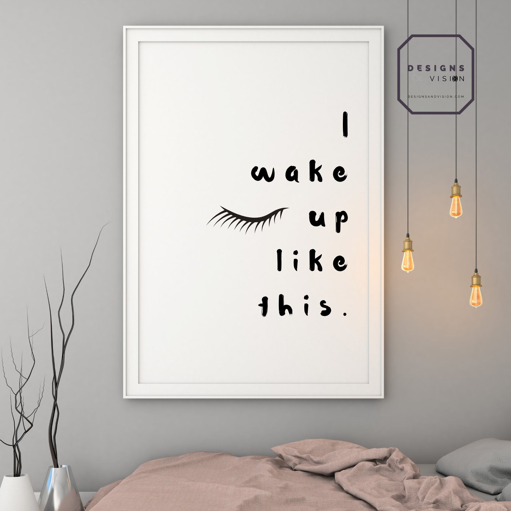 I Wake Up Like This Makeup Printable, Girls Room Instant