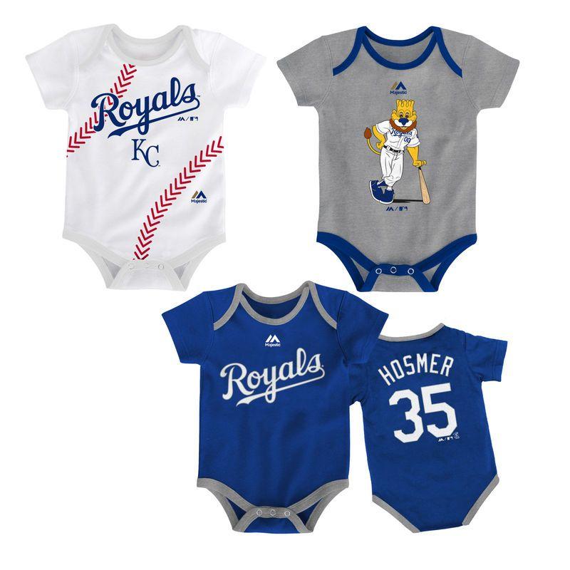 Eric Hosmer Kansas City Royals Majestic Newborn & Infant Name & Number 3-Pack Set - Royal