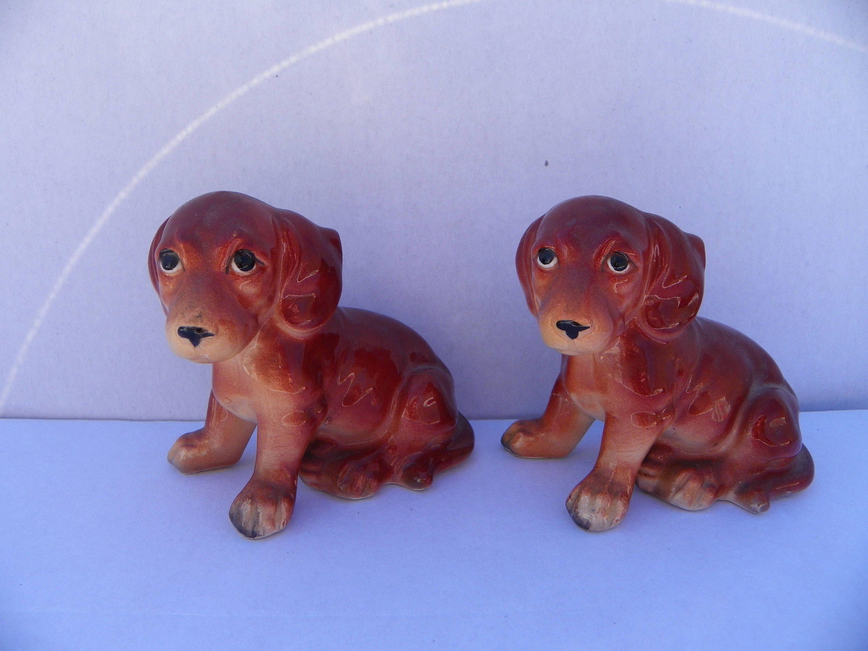 Vintage Pair of Ceramic Dog Figurines Made In Japan