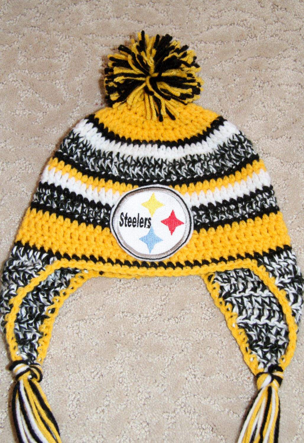 PDF crochet hat PATTERN Yellow Black white field beanie Digital ... d44ada2c1