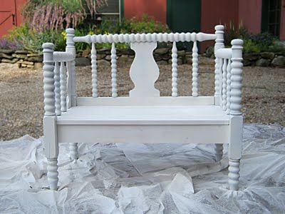 How to make a bench out of a headboard and footboard from a twin bed.