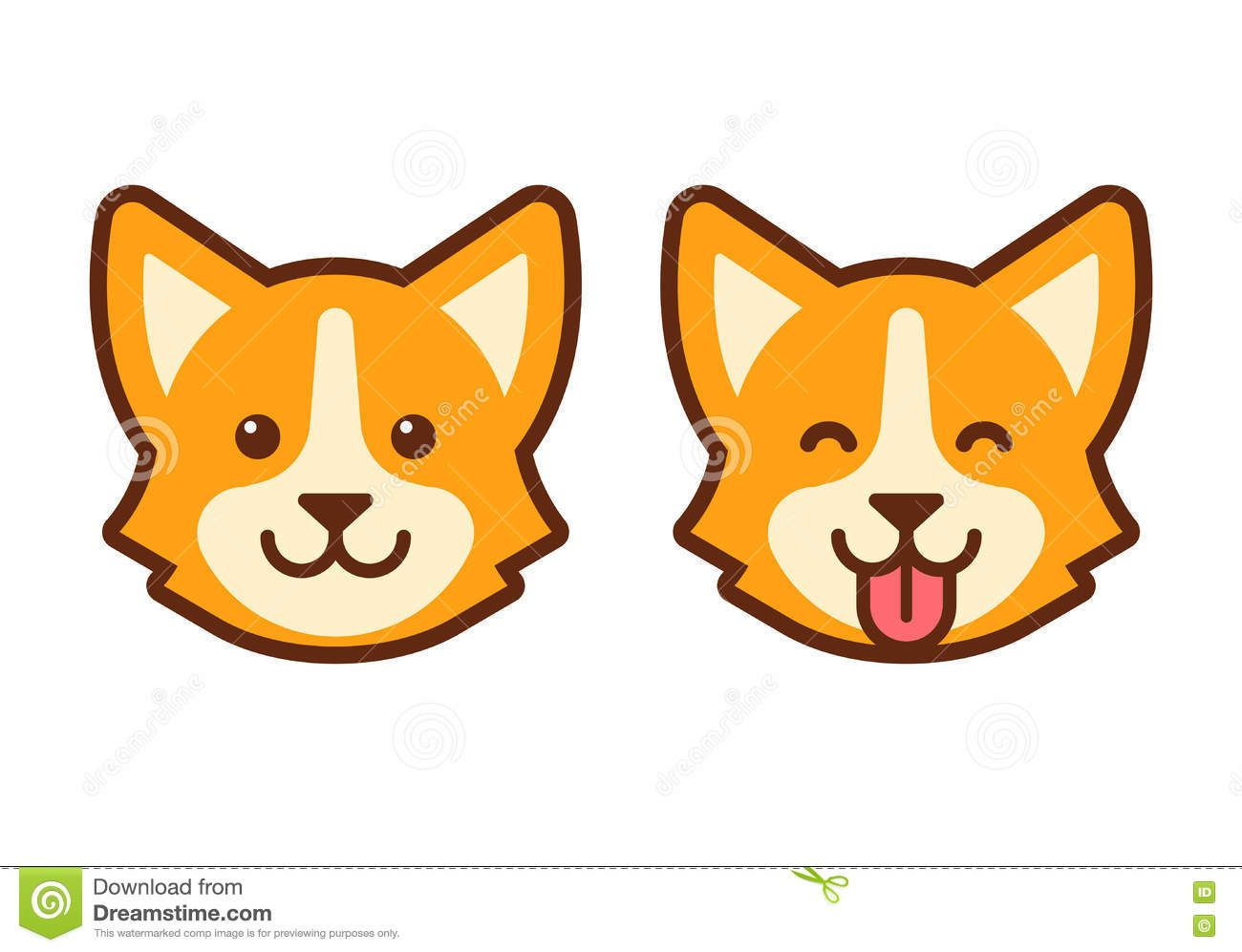 Corgi Dog Face Icon Stock Vector Corgi Face Corgi Drawing Corgi Cartoon