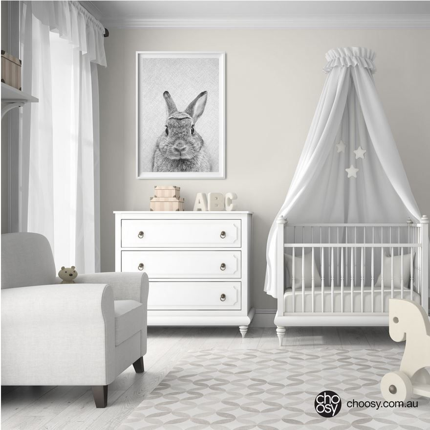 Rabbit Print Woodland Bunny Nursery Art Monochrome Wall Décor Baby Animal Shower Gift Printable Able From Choosy