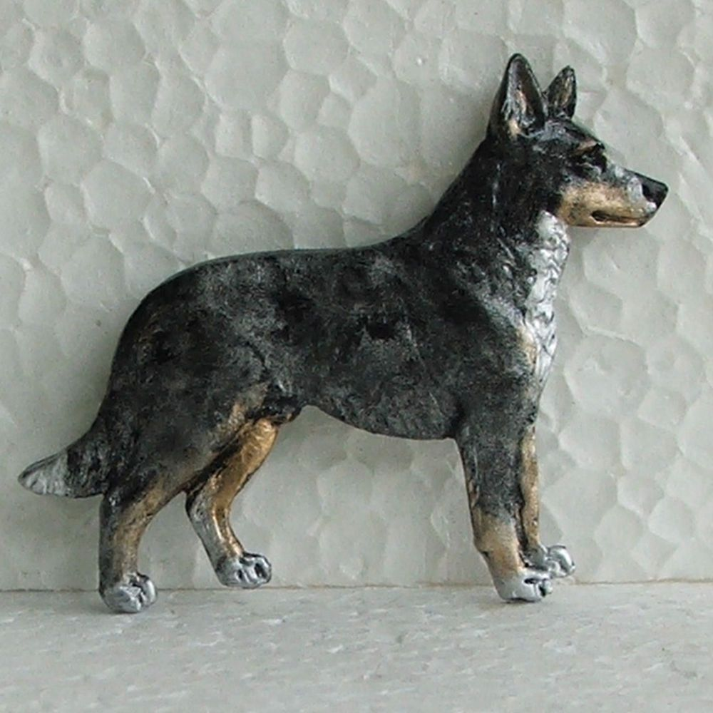 Australian Koolie Tricolour Merle Brooch Dog Breed Jewellery Handpainted Resin