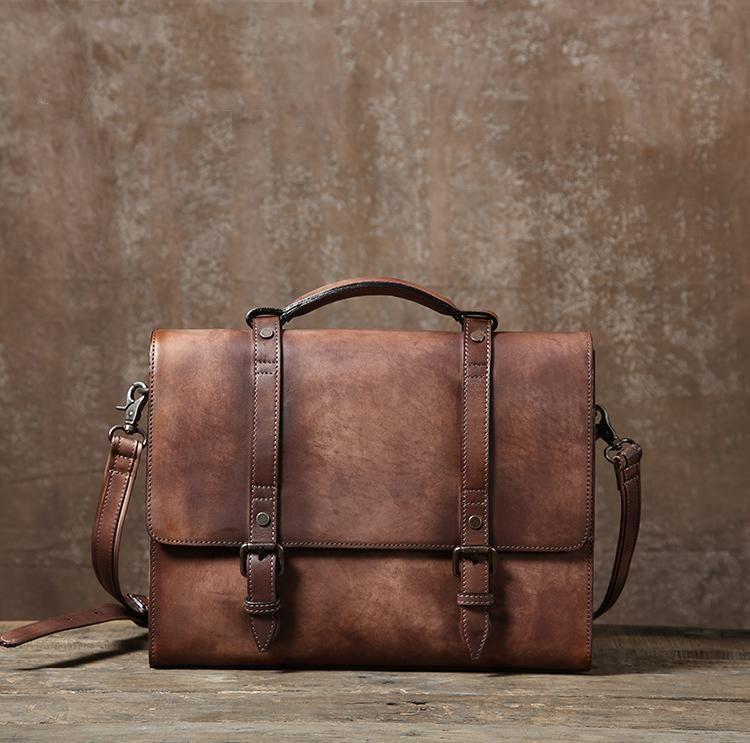 Leather Briefcase, Handmade Leather Business Bag, Leisure Bag GLT045 ... 24a9613cae