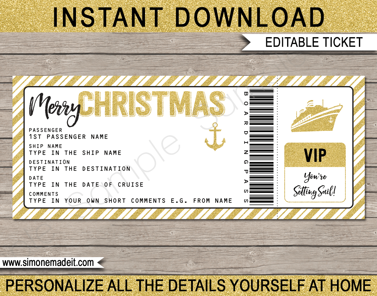 Christmas Cruise Ticket Gift Template Surprise Cruise Reveal Xmas Gift Concert Ticket Template Ticket Template Surprise Birthday Gifts