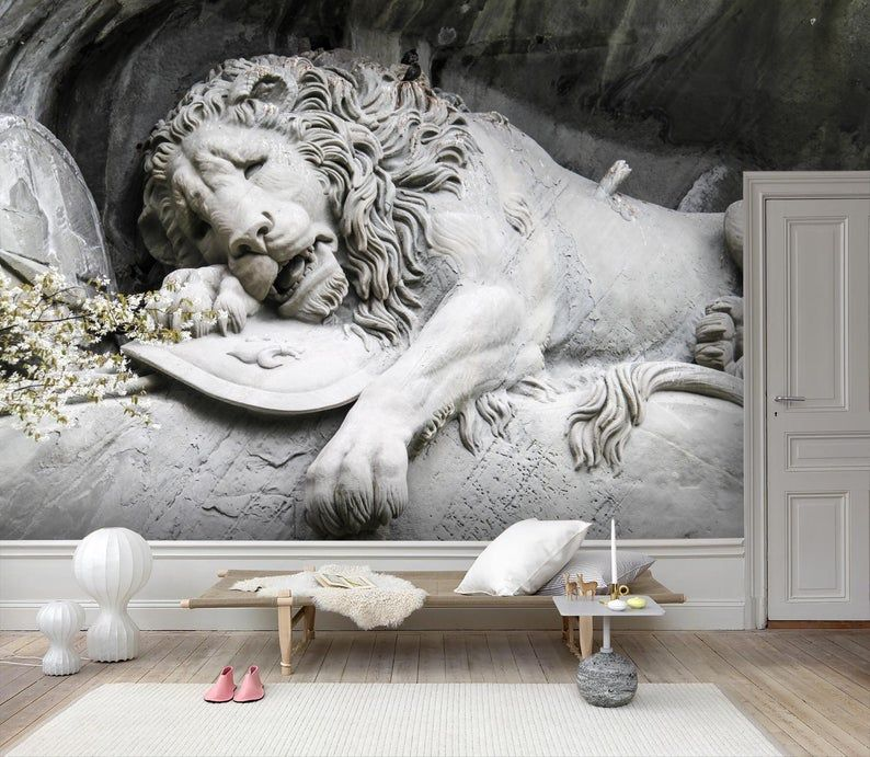 3d Lying Down Lion Wallpaper Removable Self Adhesive Etsy Wall Art Wallpaper Lion Wallpaper Mural Wallpaper