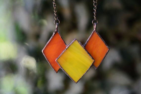 Tiffany's stained glass bib necklet glass jewelery от Kundelinchi