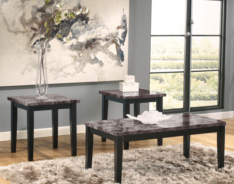 Best Gray Faux Marble Black Coffee Table Set 3 Piece Living 640 x 480