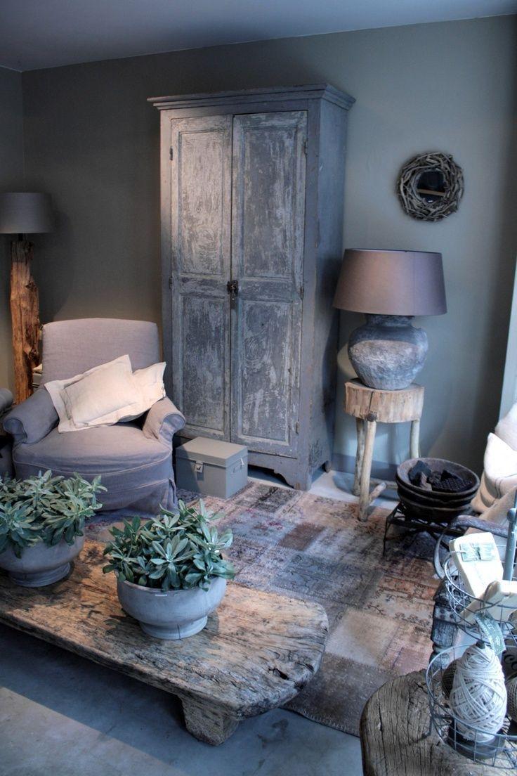 stoere landelijke woonkamer - Ideeën voor het huis | Pinterest ...