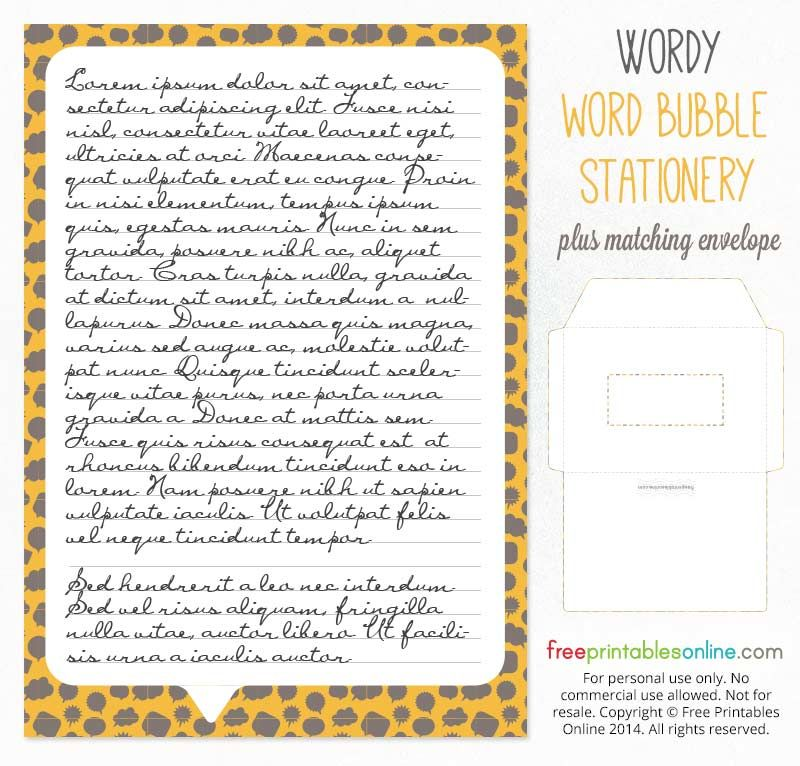 wordy printable stationery set paper envelope free printables online
