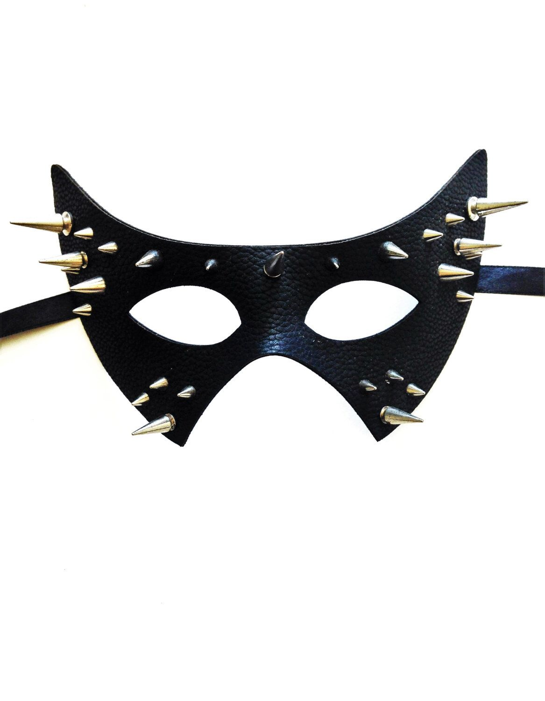 Black Leather Look Venetian Masquerade CAT Mask Halloween Masked Ball Mens WOMAN