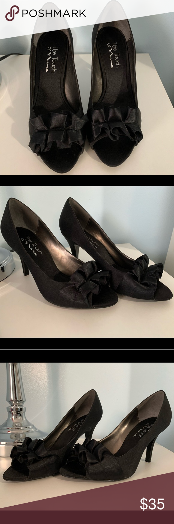 Touch of NiNa Black Satin Pumps Size 7