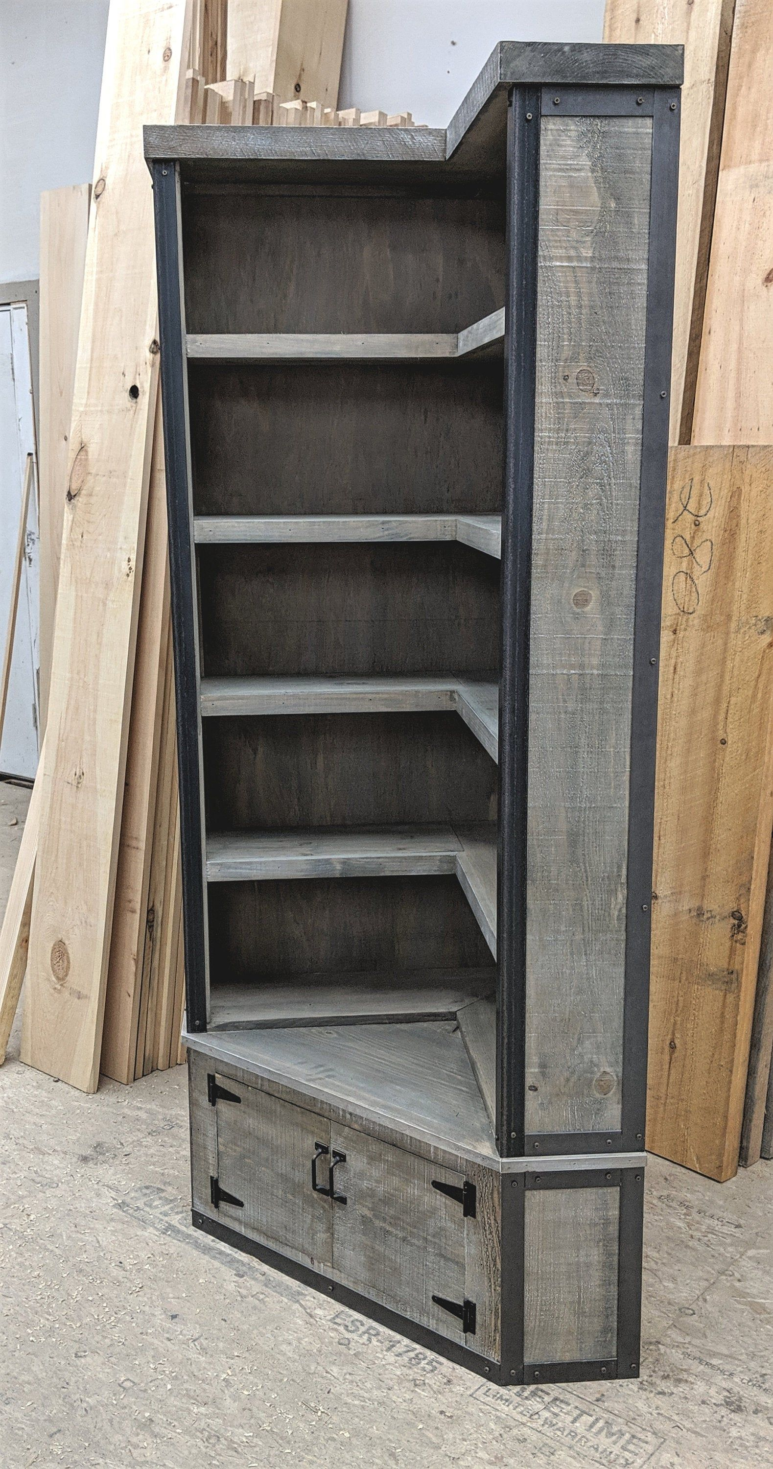 Rustic Industrial Corner Bookcase with Seat, Weathered