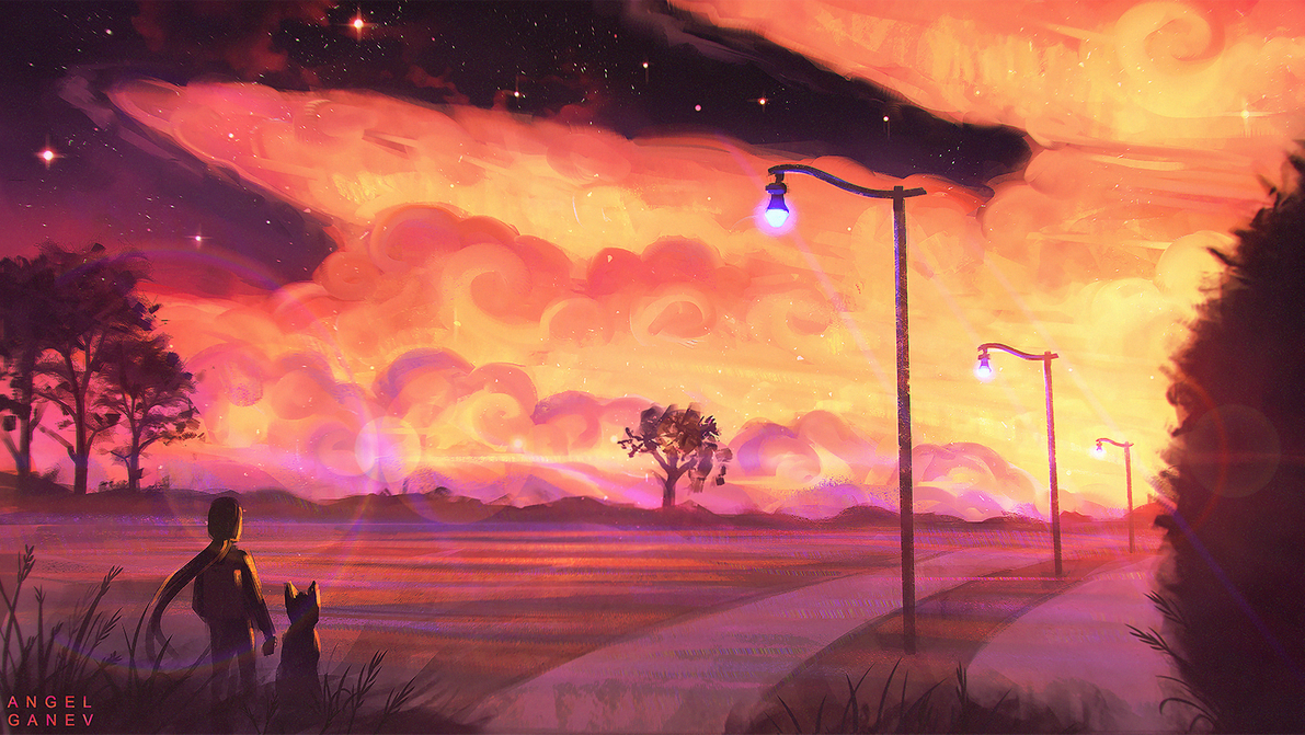 LoFi Day 239 by AngelGanev Anime scenery wallpaper