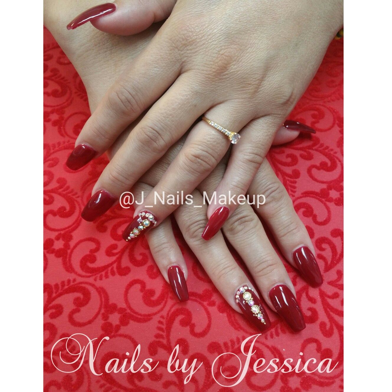 Red coffin nails with gel polish and Swarovski crystals and nail ...