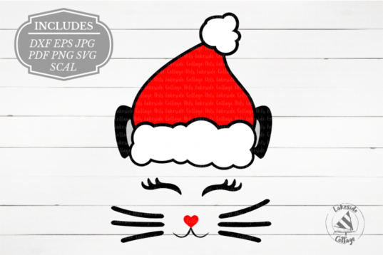 Free SVG Santa Cat Face Meowy Christmas SVG Free svg